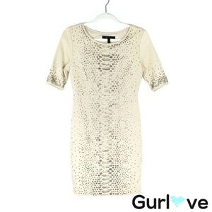 BCBGMax Azria Cream Sequined Fitted Mid Dress S